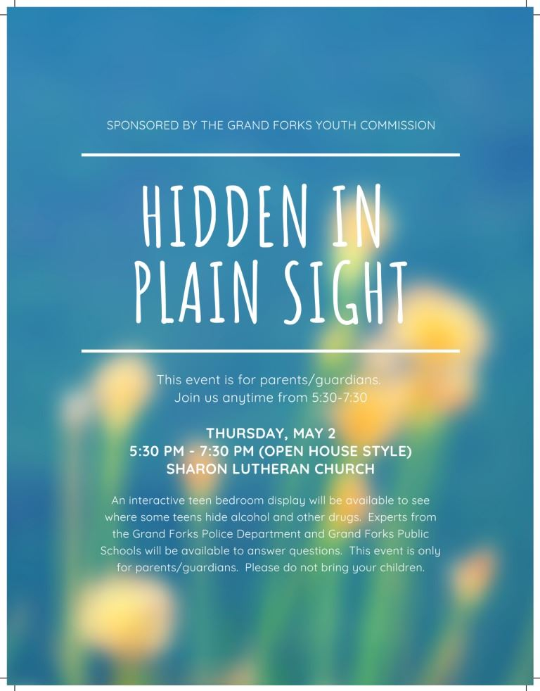 Hidden in Plain Sight. This event is for parents/guardians. Thursday, May 2nd, 5:30-7:30 p.m. at Sharon Lutheran Church.