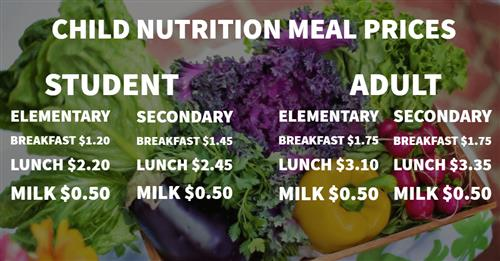 Child Nutrition Meal Prices
