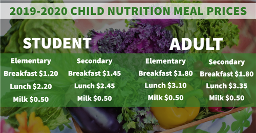 2019-2020 Child Nutrition Meal Prices