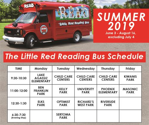 Little Red Reading Bus 2019 Summer Schedule