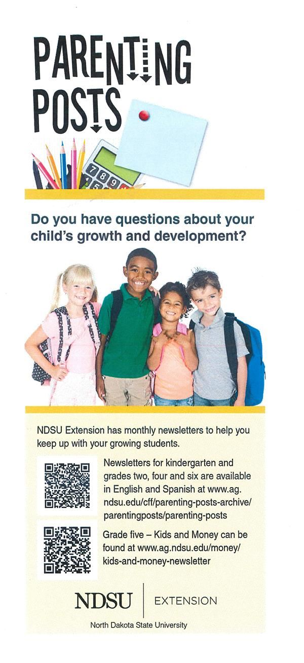 Parenting Posts. Information on newsletters from NDSU Extension, www.ag.ndsu.edu
