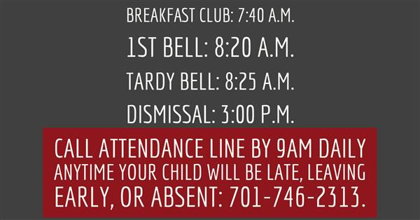 Bell schedule and attendance line information